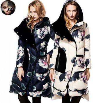 Trendy New Fashion Womens Down Coat CLJ Jackets Fashion Winter Long Coat Female Duck Down Jacket Brand Floral Casual Velvet Thick Parka AT_94_13