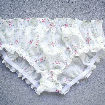Pastel low rise bikini - cotton satin panties - floral pastel