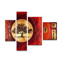Beauty of Red Asian Canvas Wall Art Landscape Oil Painting