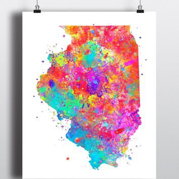 Illinois Map Watercolor Art Print - Unframed
