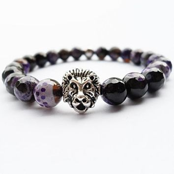 Purple Fire Agate Beads Lion Head Charm Bracelet
