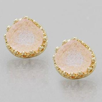 Light Pink Hammered Druzy Stone Stud Earrings