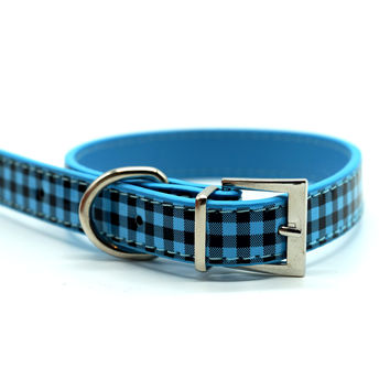 Chelsea Gingham Leather Dog Collar (Blue)
