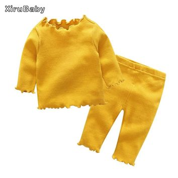 Xirubaby Baby Clothing Sets 2017 Winter Newborn Boys Girls Knitted Long Sleeve Solid Tops+Pants 2PCS Infant Clothes Outfits Sets
