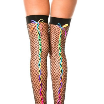 Fishnet Stockings With Rainbow Ribbon Back Seams