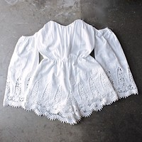 festival shop - boho strapless crochet off the shoulder cotton romper - white