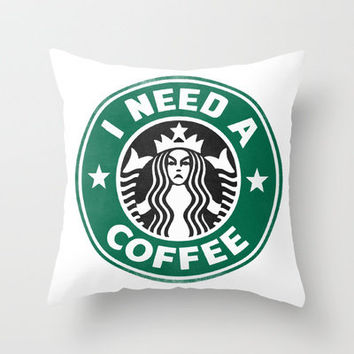 STARBUCKS - I need a coffee! Throw Pillow by John Medbury (LAZY J Studios)