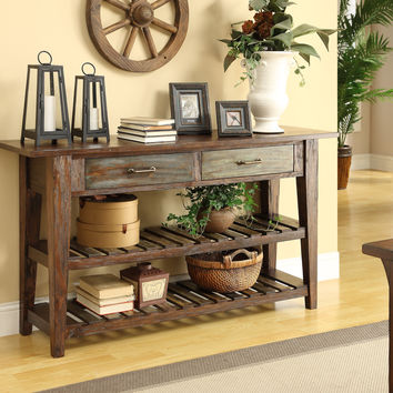 Aged Multicolor Two Drawer Console Table