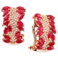 Rosa by Effy 14k Rose Gold Earrings, Ruby (3-5/8 ct. t.w.) and Diamond (1/2 ct. t.w.) - Earrings - Jewelry & Watches - Macy's