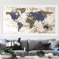 XL Poster Push Pin World Map cities travel Art Print Photo Paper watercolor Wall Decor Home (frame is not included) (P11) FREE Shipping USA!