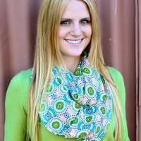 Infinity Scarf, Circle Scarf, Cotton, Turquoise, Green, Peach, White