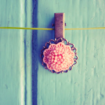Pink flower filigree hair clip in antiqued bronze colour - with dainty flowers - Handmade by The Dorothy Days - Etsy UK - hair slide grip