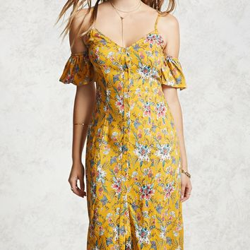 Open-Shoulder Floral Dress