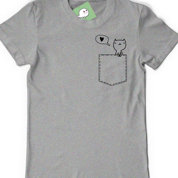 Pocket cat shirt kitty lover t shirt t from boootees on etsy for Pocket tee shirts for womens