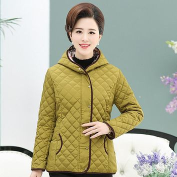 Plaid Hooded Quilted Jacket Winter New Middle Age Mother Warm Outerwear Plus Size Women Solid Wadded Overcoat 4XL 3XL 2XL 1XL