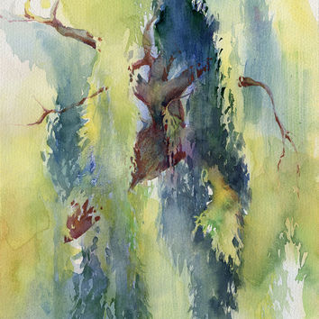 "Original watercolor painting ""Willow trees"", paper"