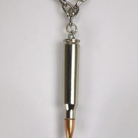 Real Bullet Necklace Punk Silver Black Metal Rock Death