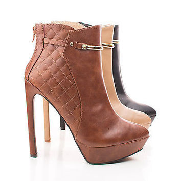 Lavania20 Taupe Pu By Wild Diva, Pointy Toe Quilted Platform Stiletto Heel Ankle Bootie
