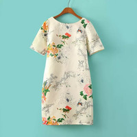 V-neck Print Short Sleeve Round-neck Slim Skirt One Piece Dress [4917857668]