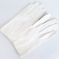 Vintage Leather Gloves Vintage White Gloves White Leather Gloves Beaded Leather Gloves Short Gloves Gloves Women's Gloves Glove Size 6