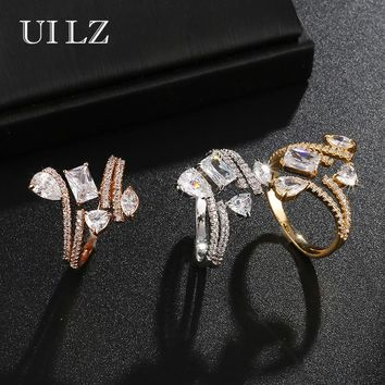 UILZ Silver Color Opening CZ Stone Engagement Ring Women Jewelry Ladies Copper Zircon Wedding Rings For Women Fashion Gift UR229