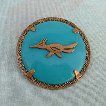 Bell Copper Bolo Pendant Faux Turquoise Roadrunner Vintage Jewelry
