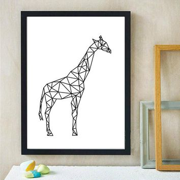 Geometric Giraffe Canvas Art Print Painting Poster, Wall Pictures for Home Decoration, Wall decor modern canvas art 4 Sizes