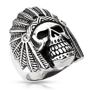 Apache Death Skull Wide Cast Ring Stainless Steel