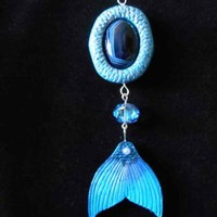 Night Swim - beautiful drop down pendant with agate and dark blue mermaid Fluke
