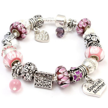 European charm bracelet with charms pink Murano beads flower silver plated rhinestone charms I love you Mom and Special Mother charms