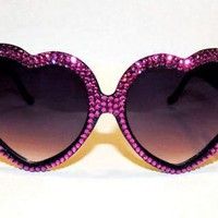 Pink Eyewear - Hot Pink Swarovski?- heart sunnies | UsTrendy