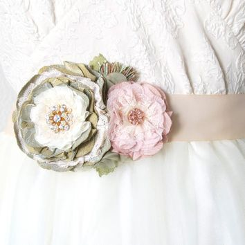 Wedding Belt with Flowers ~ Sage Pink Blossoms