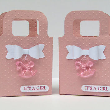 12 Pink Girl  Baby Shower Rocking Horse Favor Bag /Candy Bags/Goody Bags/ Box- Little Princess- 1st Birthday Favor Bags - Unique Baby Shower