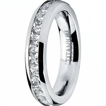 3MM Ladies Titanium Eternity Engagement Band, Wedding Ring with Pave Set Cubic Zirconia