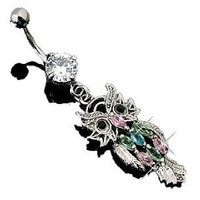 Body Accentz® Belly Button Ring Navel Multi Color Owl Body Jewelry Owl Dangle 14 Gauge HO112