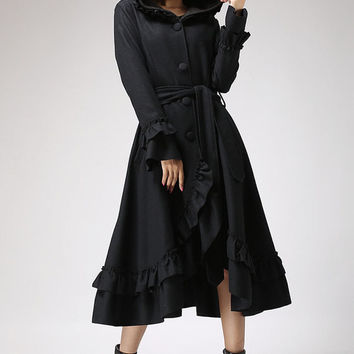 Black wool coat ruffled maxi coat hooded coat long by xiaolizi