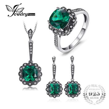 JewelryPalace Vintage 7.3ct Nano Russian Simulated Emerald Pendant Necklace Drop Earrings Ring Jewelry Sets 925 Sterling Silver