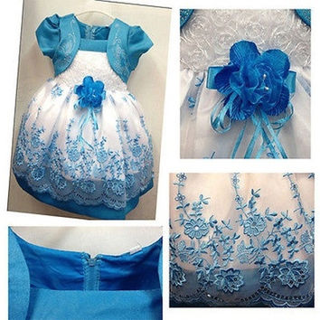 Summer Pageant Kids Girls Princess Embroidery Flower Party Wedding Gown Dresses [7981329095]