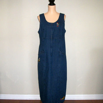 Womens Denim Jumper Maxi Dress Disney Clothing Large Mickey Mouse Sleeveless Jean Dress School Teacher Size 12 FREE SHIPPING Womens Clothing