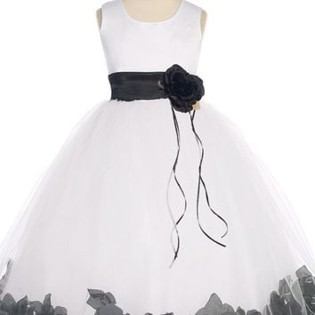 Black Flower Girls Satin & Tulle Petal Dress w. Organza Sash 2T-14