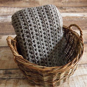Ready To Ship Gray Grey Unisex Baby Toddler Afghan Crib Blanket Baby Shower Gift