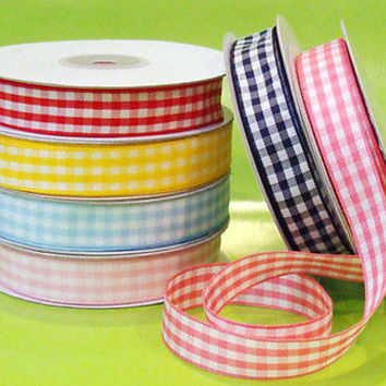 Polyester Gingham Ribbon Checkered Ribbon Bows Gift Wrap, 5/8-Inch, 15 Yard Roll
