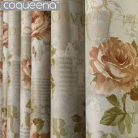 Double Print Luxury Thick Letters & Flowers Vintage Window Shades Curtains for Living Room Bedroom Door Decoration Ready Made