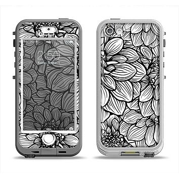 The White and Black Flower Illustration Apple iPhone 5-5s LifeProof Nuud Case Skin Set