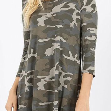 Camo Tunic - Light Olive
