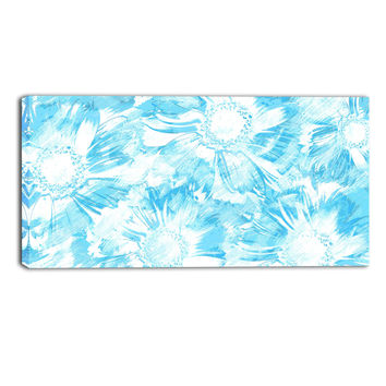 Blue White Sunflower Floral Canvas Wall Art Print