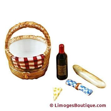 PICNIC BASKET W/WINE, BREAD, CHEESE & NAPKIN LIMOGES BOX