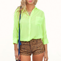 Three Quater Sleeve Neon Green Button Down Blouse