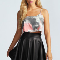 Jules Leather Look Skater Skirt
