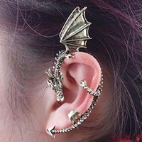 1pc 2015 New Fashion jewelry Retro Vintage Bronze Punk Temptation Metal Dragon Bite Ear Cuff Clip Wrap Earring